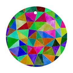Triangles, colorful watercolor art  painting Ornament (Round)