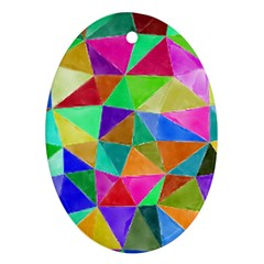 Triangles, colorful watercolor art  painting Ornament (Oval)