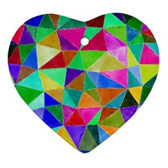 Triangles, colorful watercolor art  painting Ornament (Heart)