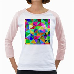 Triangles, colorful watercolor art  painting Girly Raglans