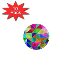 Triangles, colorful watercolor art  painting 1  Mini Magnet (10 pack)
