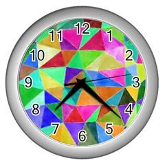 Triangles, colorful watercolor art  painting Wall Clocks (Silver)