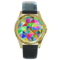 Triangles, colorful watercolor art  painting Round Gold Metal Watch