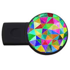 Triangles, colorful watercolor art  painting USB Flash Drive Round (1 GB)