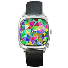 Triangles, colorful watercolor art  painting Square Metal Watch