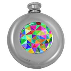 Triangles, colorful watercolor art  painting Round Hip Flask (5 oz)