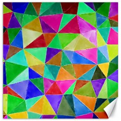 Triangles, colorful watercolor art  painting Canvas 12  x 12
