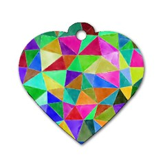 Triangles, colorful watercolor art  painting Dog Tag Heart (One Side)