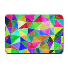 Triangles, colorful watercolor art  painting Small Doormat