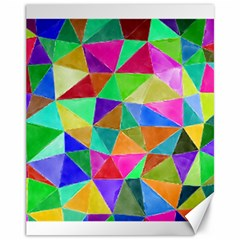 Triangles, colorful watercolor art  painting Canvas 11  x 14