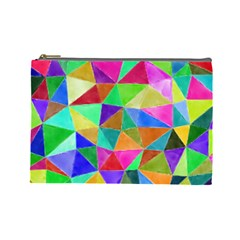 Triangles, colorful watercolor art  painting Cosmetic Bag (Large)
