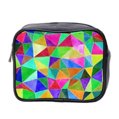 Triangles, colorful watercolor art  painting Mini Toiletries Bag 2-Side