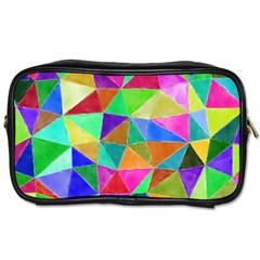 Triangles, colorful watercolor art  painting Toiletries Bags 2-Side
