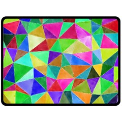 Triangles, colorful watercolor art  painting Fleece Blanket (Large)