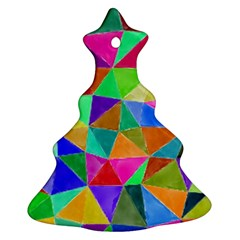 Triangles, colorful watercolor art  painting Ornament (Christmas Tree)