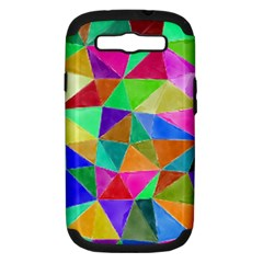 Triangles, colorful watercolor art  painting Samsung Galaxy S III Hardshell Case (PC+Silicone)