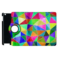 Triangles, colorful watercolor art  painting Apple iPad 3/4 Flip 360 Case