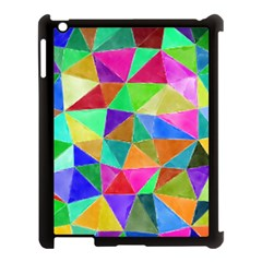 Triangles, colorful watercolor art  painting Apple iPad 3/4 Case (Black)
