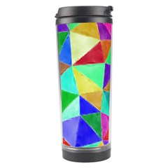Triangles, colorful watercolor art  painting Travel Tumbler