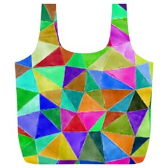 Triangles, colorful watercolor art  painting Full Print Recycle Bags (L)