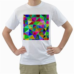 Triangles, colorful watercolor art  painting Men s T-Shirt (White)