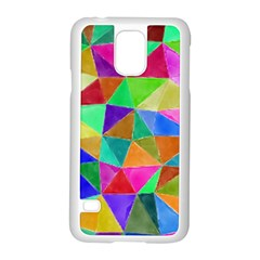 Triangles, colorful watercolor art  painting Samsung Galaxy S5 Case (White)