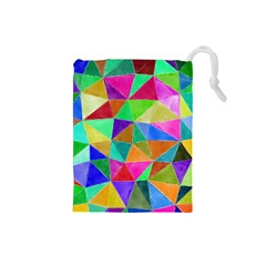 Triangles, colorful watercolor art  painting Drawstring Pouches (Small)