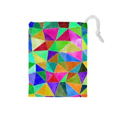 Triangles, colorful watercolor art  painting Drawstring Pouches (Medium)