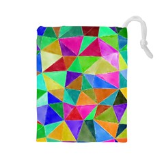 Triangles, colorful watercolor art  painting Drawstring Pouches (Large)