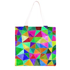 Triangles, colorful watercolor art  painting Grocery Light Tote Bag