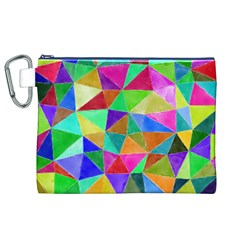 Triangles, colorful watercolor art  painting Canvas Cosmetic Bag (XL)