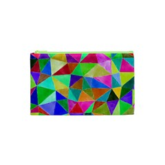 Triangles, colorful watercolor art  painting Cosmetic Bag (XS)