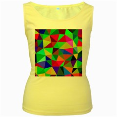 Colorful Triangles, oil painting art Women s Yellow Tank Top