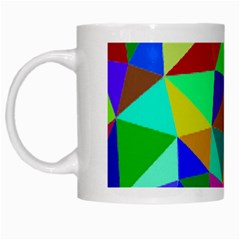 Colorful Triangles, oil painting art White Mugs