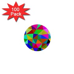 Colorful Triangles, oil painting art 1  Mini Magnets (100 pack)