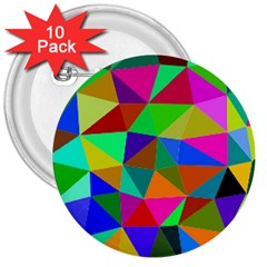 Colorful Triangles, oil painting art 3  Buttons (10 pack)