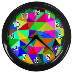 Colorful Triangles, oil painting art Wall Clocks (Black)