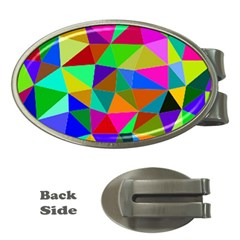 Colorful Triangles, oil painting art Money Clips (Oval)