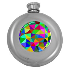 Colorful Triangles, oil painting art Round Hip Flask (5 oz)