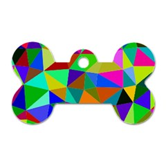 Colorful Triangles, oil painting art Dog Tag Bone (One Side)