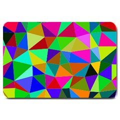 Colorful Triangles, oil painting art Large Doormat