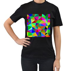 Colorful Triangles, oil painting art Women s T-Shirt (Black)
