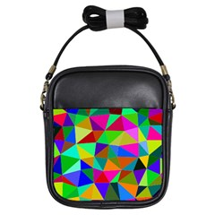 Colorful Triangles, oil painting art Girls Sling Bags