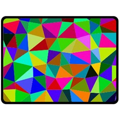 Colorful Triangles, oil painting art Fleece Blanket (Large)