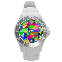 Colorful Triangles, oil painting art Round Plastic Sport Watch (L)