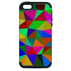 Colorful Triangles, oil painting art Apple iPhone 5 Hardshell Case (PC+Silicone)