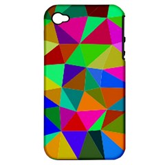 Colorful Triangles, oil painting art Apple iPhone 4/4S Hardshell Case (PC+Silicone)