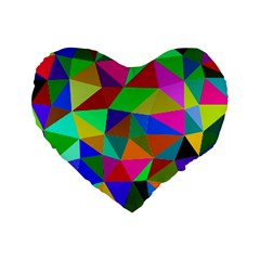 Colorful Triangles, oil painting art Standard 16  Premium Heart Shape Cushions