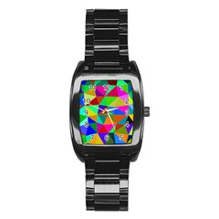 Colorful Triangles, oil painting art Stainless Steel Barrel Watch