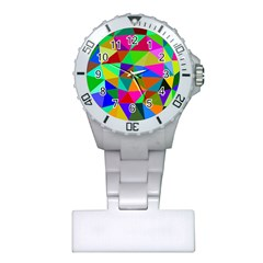Colorful Triangles, oil painting art Plastic Nurses Watch